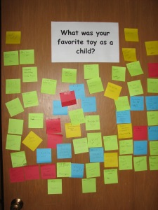 Visitors have posted notes with their favorite toys.