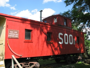 New coat of pain on the Soo Line caboose.