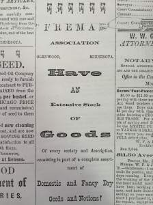 Newspaper ad for the Fremad Association - 1876.