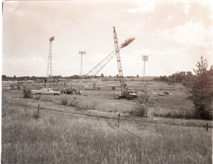 Stadium lights moved from Barsness Baseball Field to GHS Athletic Field, August 1963.