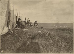 1869 Survey team with Glenwood in the background.