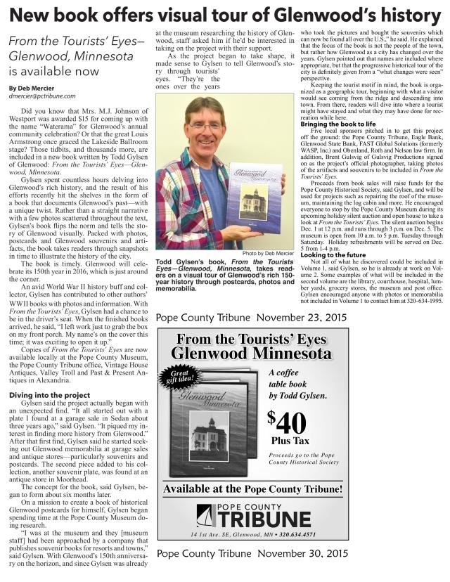 Tourists Eye Pope County Tribune Article